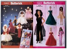 "Butterick 5061 & 5865 Barbie 11 1/2"" Doll Dress Clothes Pattern s Retired Uncut"
