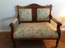 Antique Victorian Green Floral Upholstery Brown Hand Carved Wood Settee Bench