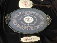 VINTAGE PETIT POINT LACE DRESSING TABLE TRAY VANITY BRASS BRUSH MIRROR