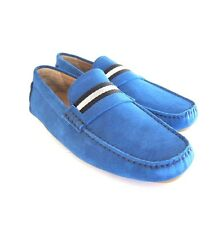 S-1637102 New Bally Wabler 466 Blue Caprice Suede Driver Shoe Sz US 9.5D / 8.5E