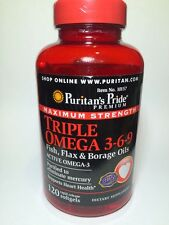 Maximum Strength Triple Omega 3-6-9 Fish Flax Borage Oils Blood Heart 120Softgel