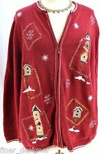Croft & Barrow ugly Christmas Bird zip up CARDIGAN SWEATER JACKET top Plus SZ 1X