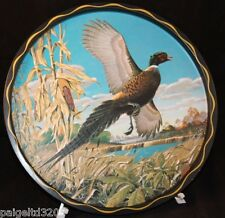 James L. Artic Pheasant Painting Round Serving Tin Tray / Plate
