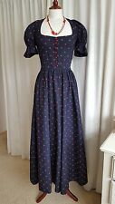 Original 1969 Early Vintage BIBA Navy Blue Red Ditsy Print Maxi Cotton Dress S 8
