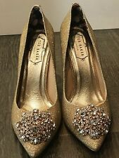 TED BAKER COURTS HIGH HEEL SHOES GOLD SIZE 7 STATEMENT CRYSTALS COURTS SHOES