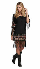 Cowgirl Fringe Dress M Western Aztec Embroidered Black Women's Country