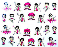 Betty Boop Cartoon Nail Art Nails Decals Water Transfers Pink Stickers #1242