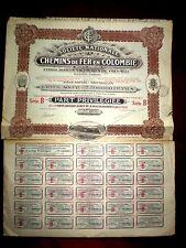 Colombia,Chemins de Fer en Colombie,preferred share certificate 1927, Good