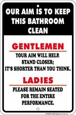 METAL SIGN -  Our Aim is to Keep this BATHROOM Clean... great fun for restaurant