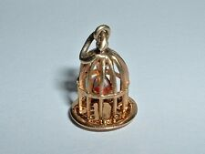 VINTAGE 14K YELLOW GOLD 3D MOVEABLE BIRDCAGE BIRD CHARM