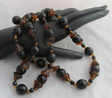Vintage Czech Jet Black&Amber Brown Glass Beads Trumpet Flowers Beaded Necklace