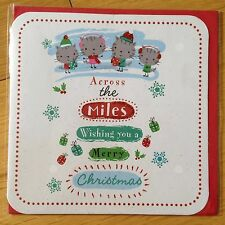 Across The Miles Cats Christmas New Year Greetings Note Card *NEW* (C47)