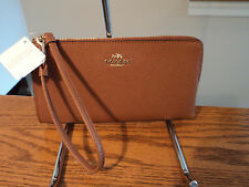 Authentic Coach 52549B L Zip Leather Zippy Wallet Phone Case Saddle Brown NWT