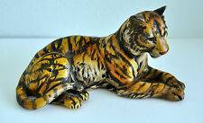 """UCCI Japan Tiger Figurine Collectible 9"""" Long 5"""" Tall Striped Laying Down"""