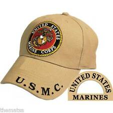 UNITED STATES MARINE CORPS LOGO EMBROIDERED DESERT TAN  MILITARY HAT CAP