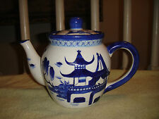 Superb Chinese Blue & White Coffee Pot-Marked Asian Made In China-Water & House