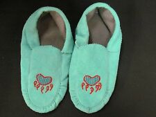 NATIVE AMERICAN BEADED  BLUE MOCCASINS 10 INCHES GLITTERING  BEAR CLAW  COZY