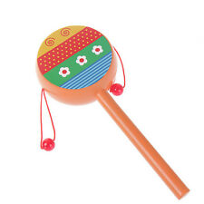 Wooden Rattle Pellet Drum Cartoon Musical Instrument Toy for Child Kids Gift