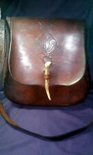 Vintage Handmade Leather Bag with Horn Closer Hippie 60's