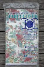 "TABLE COVER TABLECLOTH 54"" x 104"" XMAS ROSES HORNS LAURETTE CONTEMPO Vtg 1992"