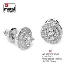 Mens Iced Out 925 Silver 3 Layer Round Micro Pave Screw Back Stud Earring 469S