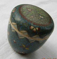 Totai cloisonne porcelain: a lidded trinket pot with flowers & geometric designs