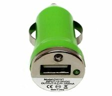 2 Pack Mini Universal USB DC Car Charger Adapter Bullet, 5V 1A, Green