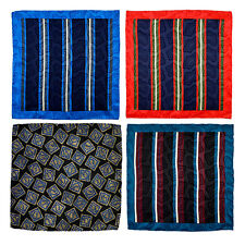 "15"" SANTOSTEFANO Italy LOT of 4 Striped Silk Pocket Square Handkerchief"