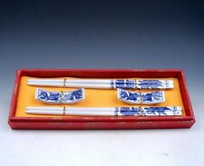 Gift Set 2 Pairs Blue&White Porcelain Goldfishes Painted Chopsticks w/ 2 Holders