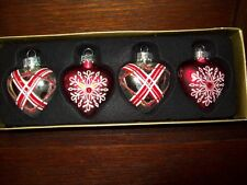 """NEW 1 1/2"""" PUFFED HEART ORNAMENTS SET of 4 GLASS silver/red combo"""