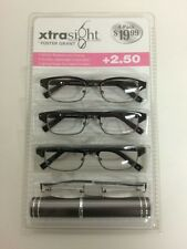 4 Pack FOSTER GRANT Rob READING GLASSES +2.50 Scratch Resistant w/Tube Case NEW!