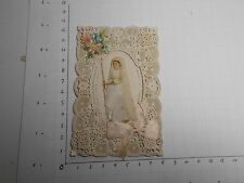 LOVELY DELICATE ANTIQUE VICTORIAN  WEDDING CARD POLYCHROME DIE CUT PAPER LACE