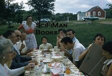 KODACHROME Red Border 35mm Slide People Party Picnic Fashion Old Cars 1950s!!!