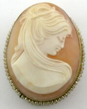 LADIES 800 SILVER SHELL CAMEO PIN BROOCH PENDANT