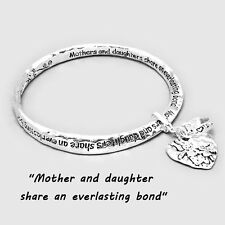 Mother Daughter Charm Bangle Bracelet SILVER Everlasting Inspirational Jewelry