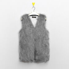 Women Faux Fur Sleeveless Vest Waistcoat Jacket Warm Gilet Shrug Coat Outerwear