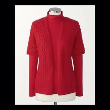 N $80 S 8 Coldwater Creek Cable Mix Cardigan knit Red Short Sleeve Sweater
