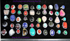 U.S. SELLER* Wholesale Lot of 50 pcs Assorted Silver plated Gemstone Rings