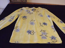 CARIBBEAN JOE TROPICAL V-NECK  PULLOVER TOP SZ SMALL YELLOW BLUE