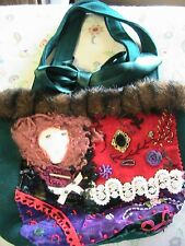 VICTORIAN GREEN~EMBROIDERED FAUX FUR~DOLL FACE~beads~trims HANDBAG *OOAK by me