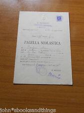 1938 PAGELLA ANTICA CLASSE PRIMA GINNASIO ROMA MARCA DA BOLLO OLD REPORT CARD
