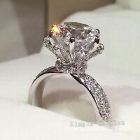 Flower Design Handmade Women 3ct Diamonique Cz 925 Silver Wedding Finger Ring