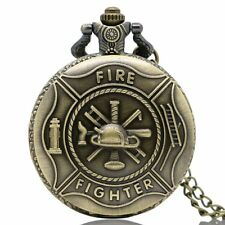 Antique Bronze Fire Fighter Pocket Watch Necklace Pendant Wtih Chain Gift P106
