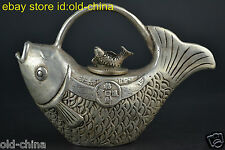 China Vintage Style Decorate Old Tibet Silver Fish Lucky Rare Noble Teapot