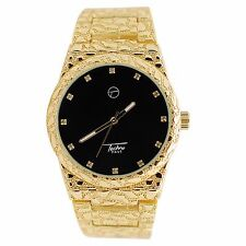 Mens Techno Pave Gold Plated Black Iced Dial Full Nugget Style Metal Band Watch
