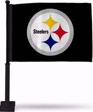 PITTSBURGH STEELERS BLACK CAR FLAG BLACK POLE DOUBLE SIDED