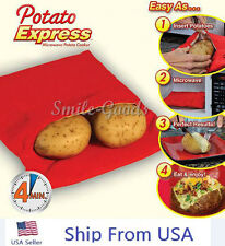 Potato Express Microwave Potato Cooker As Seen On TV Cooks + RECIPE menu USA