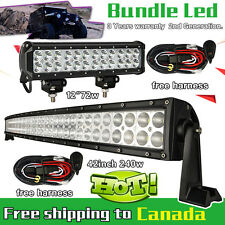 42 inch LED Light Bar Curved + 12inch CREE Led Work Light Bar Truck Jeep SUV 40