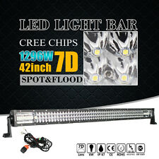 "7D+ 42""INCH 1296W TRI-ROW LED LIGHT BAR SPOT FLOOD COMBO OFFROAD DRIVING CREE"