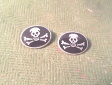 BIKER MOTORCYCLE CLOTHING GOTHIC PIRATE 2 SKULL & CROSSBONE PEWTER BUTTONS New